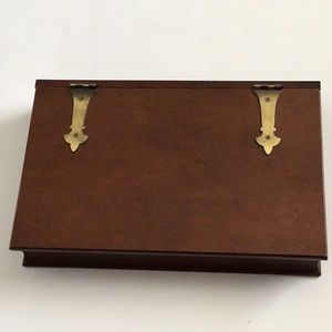 Vintage Wooden Jewelry Box Brass hinges